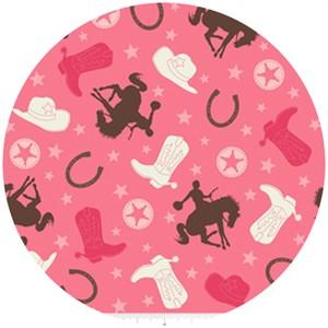 Riley Blake, Roundup!, Cowboy Main Pink
