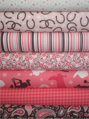 Riley Blake, Roundup!, Pink in FAT QUARTERS 7 Total