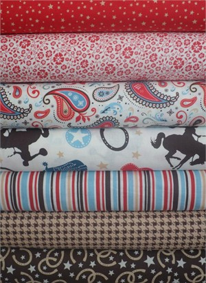 Riley Blake, Roundup!, Red/Brown in FAT QUARTERS 6 Total (PRE-CUT)