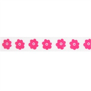 Ribbon, Grosgrain, Flowers, Hot Pink (1 Yard)