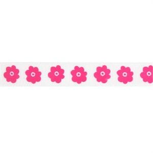 Ribbon, Grosgrain, Flowers, Hot Pink (1 Yard)