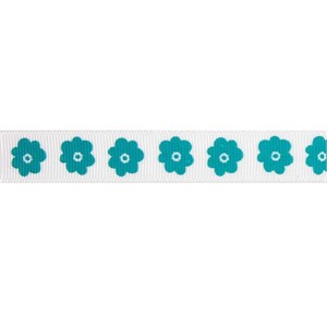 Ribbon, Grosgrain, Flowers, Teal (1 Yard)