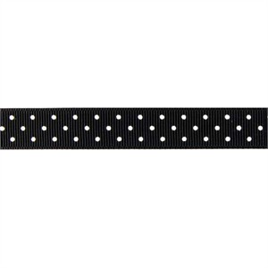 Ribbon, Grosgrain, Mini Dots, Black (1 Yard)