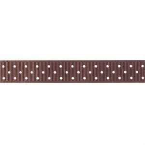 Ribbon, Grosgrain, Mini Dots, Brown (1 Yard)