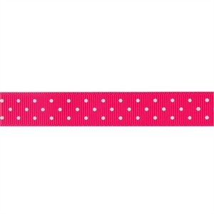 Ribbon, Grosgrain, Mini Dots, Hot Pink (1 Yard)
