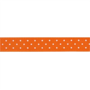Ribbon, Grosgrain, Mini Dots, Orange (1 Yard)