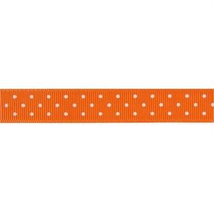 Ribbon, Grosgrain, Mini Dots, Orange (1 Yard)