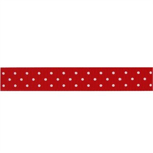 Ribbon, Grosgrain, Mini Dots, Red (1 Yard)