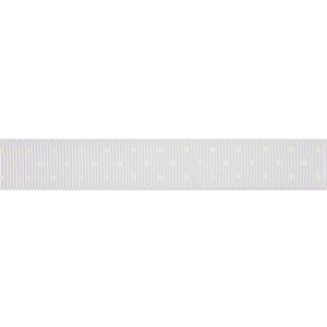 Ribbon, Grosgrain, Mini Dots, White (1 Yard)