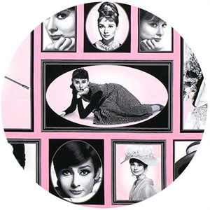 "Robert Kaufman, Hollywood Icons, Audrey Hepburn Pink (24"" Panel)"