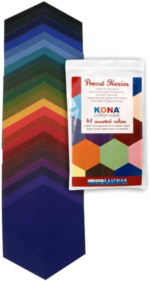 Robert Kaufman, Kona Precut Hexis, Dark Palette, 41 Total