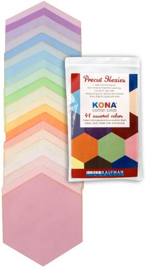 Robert Kaufman, Kona Precut Hexis, Pastel Palette, 41 Total