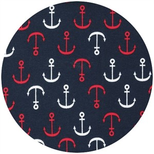 Robert Kaufman, Laguna Cotton Jersey, KNIT, Anchors Navy/Red