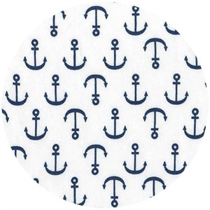 Robert Kaufman, Laguna Cotton Jersey, KNIT, Anchors White/Navy