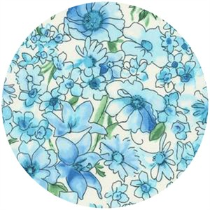 Robert Kaufman, London Calling 4, COTTON LAWN, Chelsea Bouquet Blue