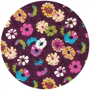 Robert Kaufman, London Calling 4, COTTON LAWN, Wildflower Field Plum