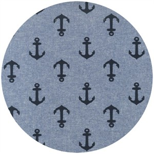 Robert Kaufman, Nautique Chambray, Anchors Indigo