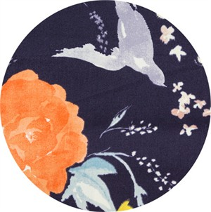 Nani Iro, SATEEN, Birds and Blooms Eggplant