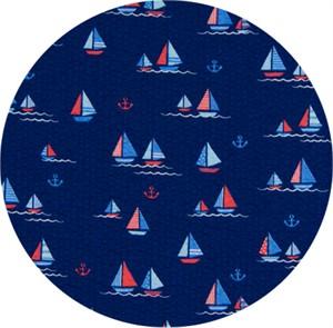 Cosmo Textiles, SEERSUCKER, Sailing Seas Navy