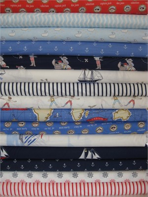 Sarah Jane, Out To Sea, Pirate Boys in FAT QUARTERS, 14 Total