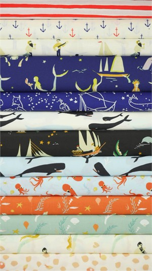AVAILABLE FOR PREORDER, Emily Winfield Martin for Birch Organic Fabrics, Saltwater in FAT QUARTERS 13 Total