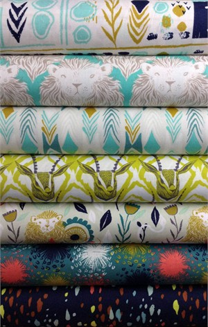Sarah Watts for Cotton and Steel, August, Aqua in FAT QUARTERS 5 Total