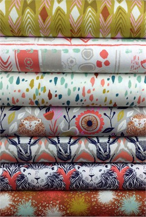 Sarah Watts for Cotton and Steel, August, Coral in FAT QUARTERS 6 Total
