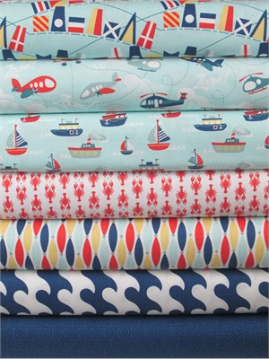 Samantha Walker for Riley Blake, Fly Aweigh, Blue in FAT QUARTERS 6 Total