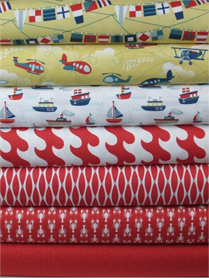 Samantha Walker for Riley Blake, Fly Aweigh, Red in FAT QUARTERS 6 Total