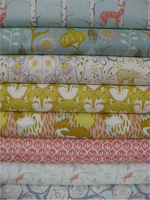 Sarah Watts, Timber & Leaf, Pink in FAT QUARTERS 8 Total