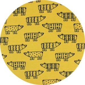 Cosmo Textiles, FLANNEL, Scandinavian Bears Mustard