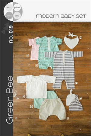 Sewing Pattern, Green Bee Design and Patterns, Modern Baby Set