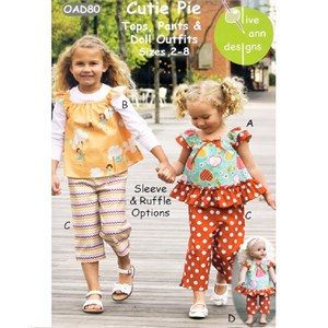 Sewing Patterns, Olive Ann Designs, Cutie Pie Top & Pants
