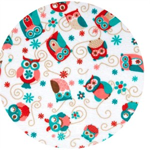 Shannon Fabrics, Cuddle Minky Owls All Around Coral