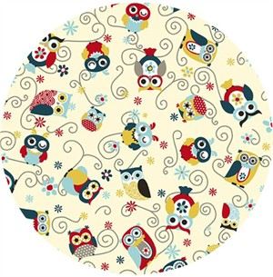Shannon Fabrics, Cuddle Minky Owls All Around Dusk