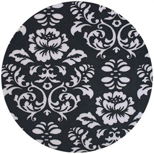 Shannon Fabrics, Silky Satin, Victorian Damask Black/White