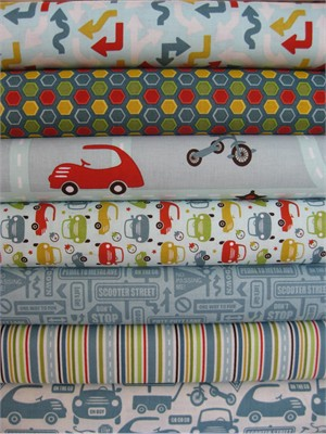 Sheri McCulley Studio, Cruiser Blvd, Blue in FAT QUARTERS 7 Total