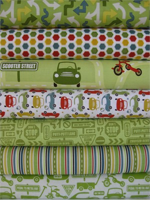 Sheri McCulley Studio, Cruiser Blvd, Green in FAT QUARTERS 7 Total