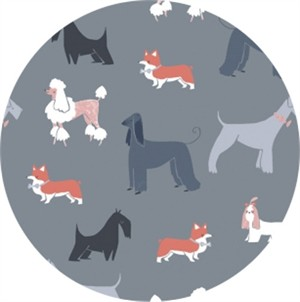 Rae Ritchie for Dear Stella, Tea Party, Show Dogs Pewter