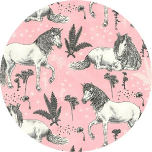 Timeless Treasures, Sketched Unicorns Pink