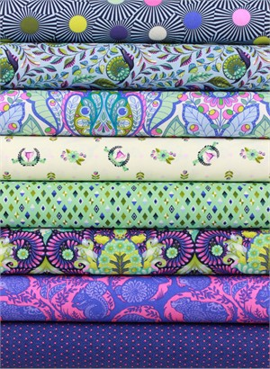 Tula Pink for Free Spirit, Slow & Steady, Blue Raspberry in FAT QUARTERS 8 Total (Pre-Cut)