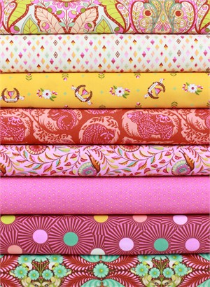 Tula Pink for Free Spirit, Slow & Steady, Orange Crush in FAT QUARTERS 8 Total