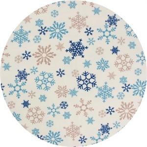 Cosmo Textiles, FLANNEL, Snowflakes Cream