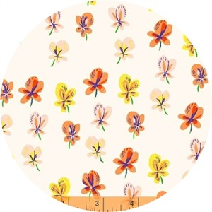 Heather Ross for Windham, Sleeping Porch LAWN, Pansies Cream