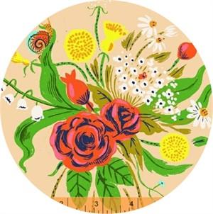 Heather Ross for Windham, Sleeping Porch LAWN, Wild Flowers Dark Blush