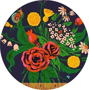 Heather Ross for Windham, Sleeping Porch LAWN, Wild Flowers Indigo