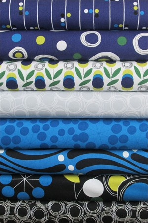 Studio E, Atomic Garden, Teal in FAT QUARTERS 8 Total