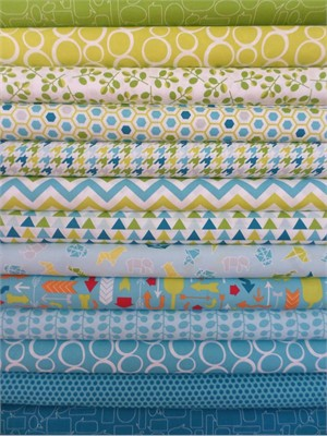 Studio M for Moda, Mixed Bag, Sweet Pea/Chill in FAT QUARTERS 13 Total