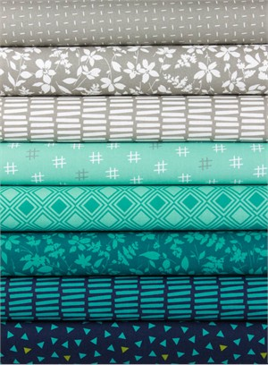 Studio M for Moda, Basic Mixologie Geometrics, Stormy in FAT QUARTERS 7 Total