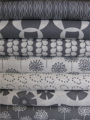 Stof, Pure, Gray in FAT QUARTERS, 7 Total